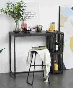 HOMCOM Mesa de Bar Bistro Mueble Auxiliar de Comedor Industrial con 2 Estantes y Dispositivo Antivuelco de Metal y Madera 120x50x100 cm Nogal