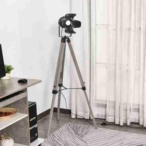 HOMCOM Lámpara de Pie con Trípode Lámpara de Suelo para Sala Dormitorio Escritorio Ajustable en Altura Diseño Industrial 63x63x100-140 cm - Aosom