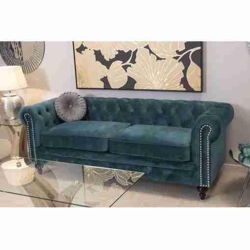 Sofá chester de terciopelo azul 197x77x70cm